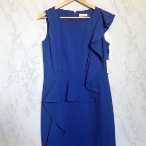 Calvin Klein Cobalt Partial Peplum Dress